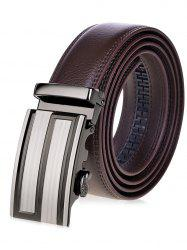 Stripe Rectangular Auto Buckle Waist Belt - BROWN