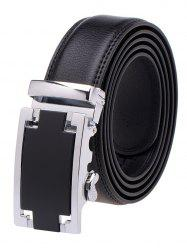 Faux Leather Belt with Plain Automatic Buckle - BLACK