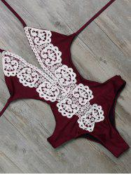 Unlined One Piece Halter Monokini Bathing Suit - WINE RED S