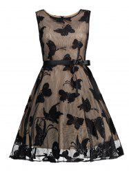 Butterfly Graphic Belted Sleeveless Dress