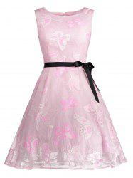 Butterfly Graphic Belted Short Formal Dress - PINK 2XL