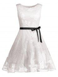 Butterfly Graphic Belted Sleeveless Dress - WHITE M