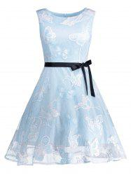 Butterfly Graphic Belted Short Formal Dress - LIGHT BLUE XL