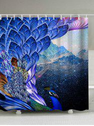 Peacock Print Waterproof Mouldproof Shower Curtain