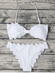 Halter Scalloped Edge Bandeau Bikini Set