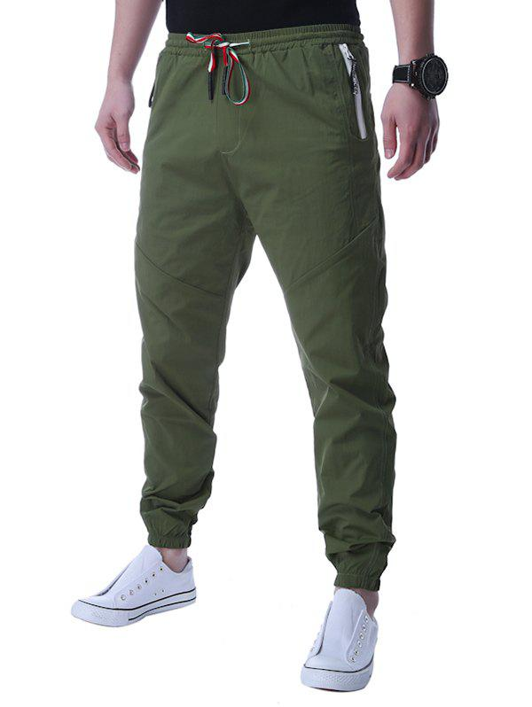 Sale Lace Up Zip Up Pocket Beam Feet Jogger Pants