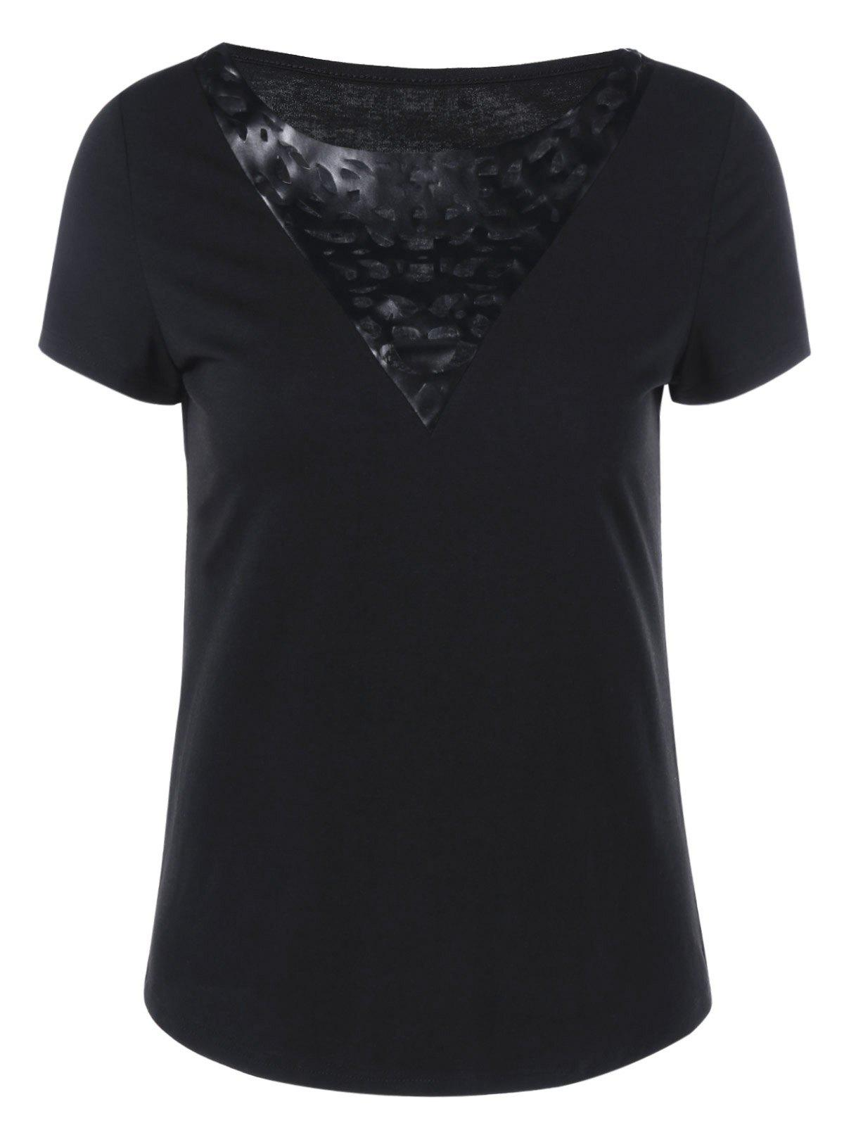 Online PU Leather Trim Hollow Out T-Shirt