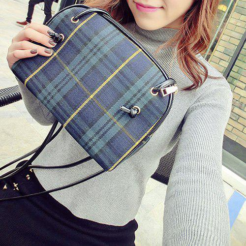 Cross Body Tartan BagSHOES &amp; BAGS<br><br>Color: BLUE; Handbag Type: Crossbody bag; Style: Fashion; Gender: For Women; Pattern Type: Plaid; Handbag Size: Small(20-30cm); Closure Type: Zipper; Interior: Interior Slot Pocket,Interior Zipper Pocket; Occasion: Versatile; Main Material: Cotton Fabric; Size(CM)(L*W*H): 25*4.5*19; Strap Length: 125CM; Weight: 0.2200kg; Package Contents: 1 x Cross Body Bag;