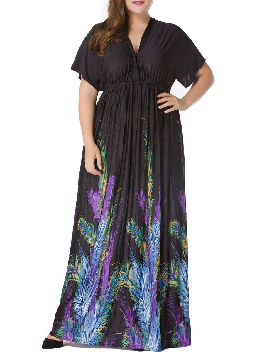 Shop Plus Size Short Sleeve Feather Print Empire Waist Maxi Dress