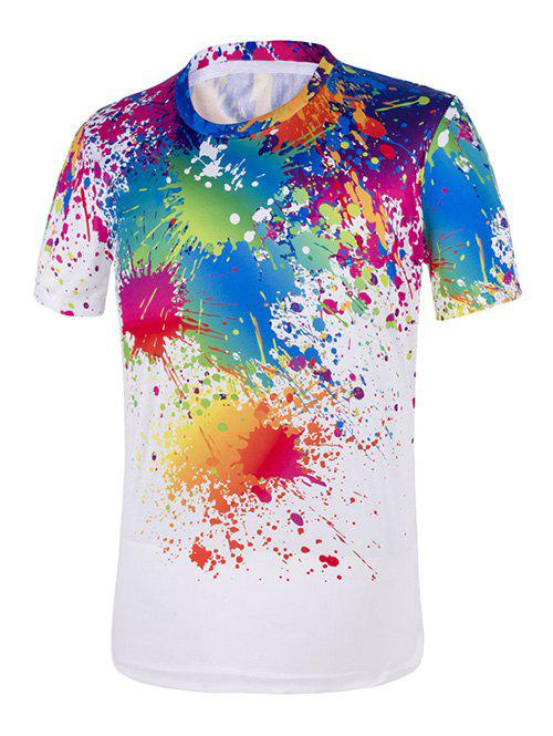 Paint Drip Short Sleeve TeeMEN<br><br>Size: 2XL; Color: WHITE; Material: Cotton,Polyester; Sleeve Length: Short; Collar: Crew Neck; Pattern Type: Print; Weight: 0.2000kg; Package Contents: 1 x T-Shirt;