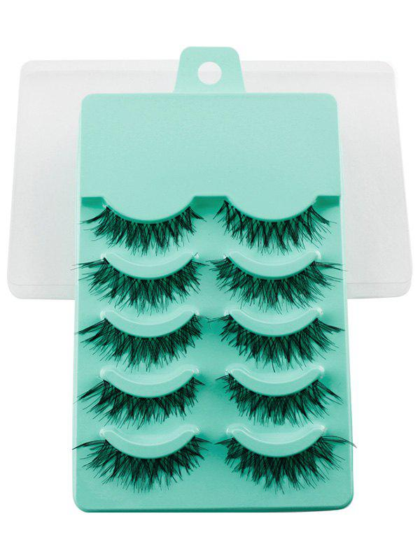 5 Pairs Dense Fake EyelashesBEAUTY<br><br>Color: EMERALD; Category: False Eyelashes; Features: Limits Bacteria; Season: Fall,Spring,Summer,Winter; Weight: 0.0500kg; Package Contents: 5 x Fake Eyelashes (Pair);