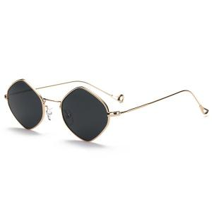 Hollow Out Legs Rhombus Mirrored Sunglasses - Golden+grey - One-size