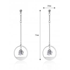 Circle Heart Rhinestone Drop Earrings - SILVER
