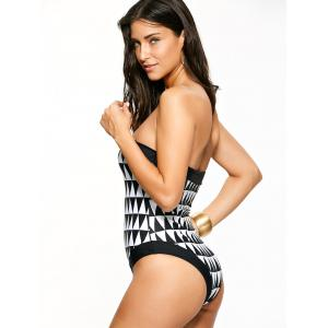 Geometric Push Up Halter One-Piece Swimwear - WHITE AND BLACK M