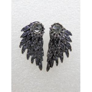 Vintage Rhinestone Angel Wings Earrings - Silver Gray