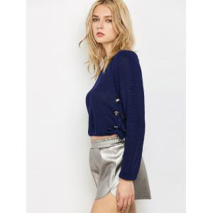 Lace Up Pullover Jumper - PURPLISH BLUE ONE SIZE