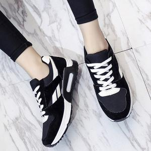 Color Block Breathable Suede Sneakers - BLACK 37