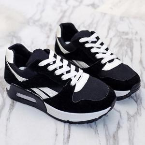 Color Block Breathable Suede Sneakers - Black - 37