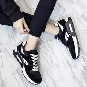 Color Block Breathable Suede Sneakers - BLACK 39