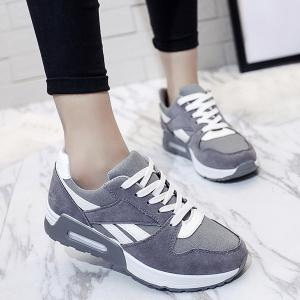 Color Block Breathable Suede Sneakers - GRAY 39