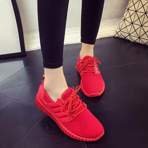 Breathable Mesh Letter Pattern Athletic Shoes - Red - 38