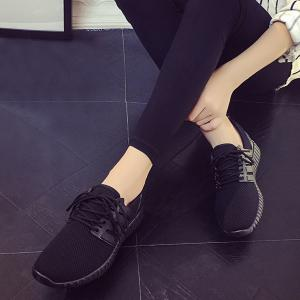 Breathable Mesh Letter Pattern Athletic Shoes - BLACK 38