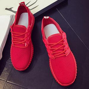 Breathable Mesh Letter Pattern Athletic Shoes - RED 40