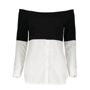 Long Sleeved Off The Shoulder Top - WHITE/BLACK XL
