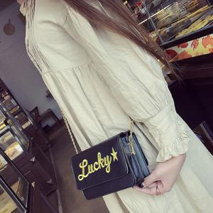 Flap Lucky Embroidered Crossbody Bag - BLACK