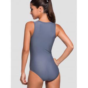 Zipper Front Striped Padded One Piece Swimsuit - ROSE MADDER XL