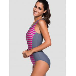 Zipper Front Striped Padded One Piece Swimsuit -