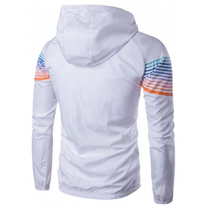 Hooded Ombre Stripe Raglan Sleeve Jacket -