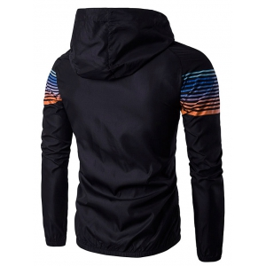 Hooded Ombre Stripe Raglan Sleeve Jacket - BLACK L
