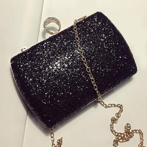 Sequins Glitter Evening Bag - Black