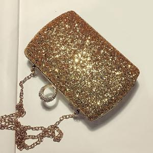 Paillettes Glitter Evening Bag - Or