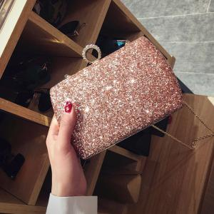 Paillettes Glitter Evening Bag - ROSE PÂLE
