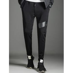 Faux Leather Panel Cuffed Sweatpants