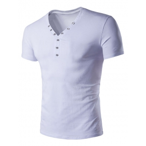V Neck Eyelet Design Short Sleeve T-Shirt