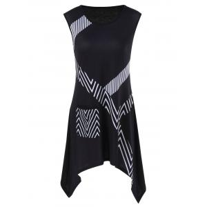 Single Pocket Striped Trim Sleeveless Longline T-Shirt - Black - Xl