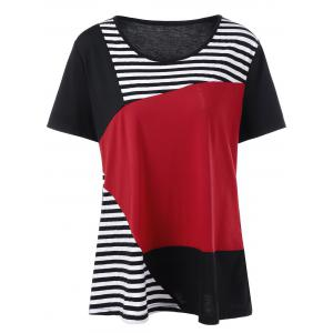 Plus Size Striped Trim Color Block T-Shirt - Black And White And Red - 2xl
