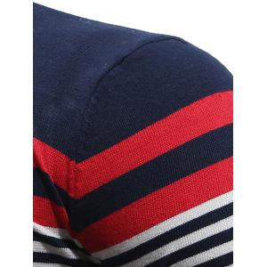 V Neck Stripes Pullover Jumper - Rouge vineux  L