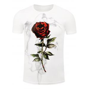 Short Sleeve Rose Print Tee - White - Xl