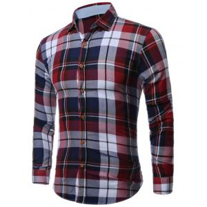 Buttoned Long Sleeve Bold Plaid Shirt - Colormix - M