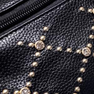 Fuax Leather Rhinestone Rivet Backpack - BLACK