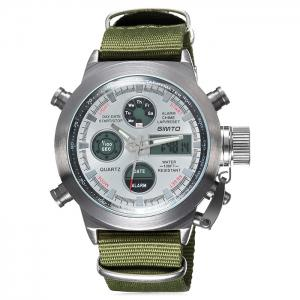 GIMTO Outdoor Canvas Analog Digital Watch - White