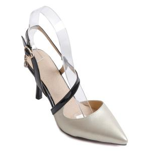 Slingback Pointed Toe Pumps - Off-white - 37