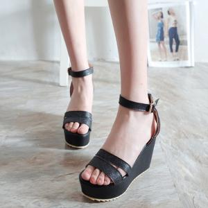 Faux Leather Ankle Strap Sandals -