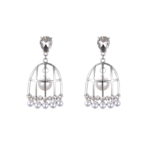 Fake Pearl Bird Cage Drop Earrings - Silver