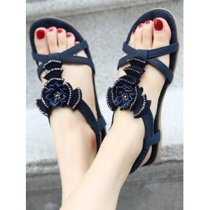 Flat Heel Rhinestones Flower Sandals - PURPLISH BLUE 38