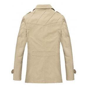 Slim Fit Lapel Collar Jacket - LIGHT KHAKI 4XL